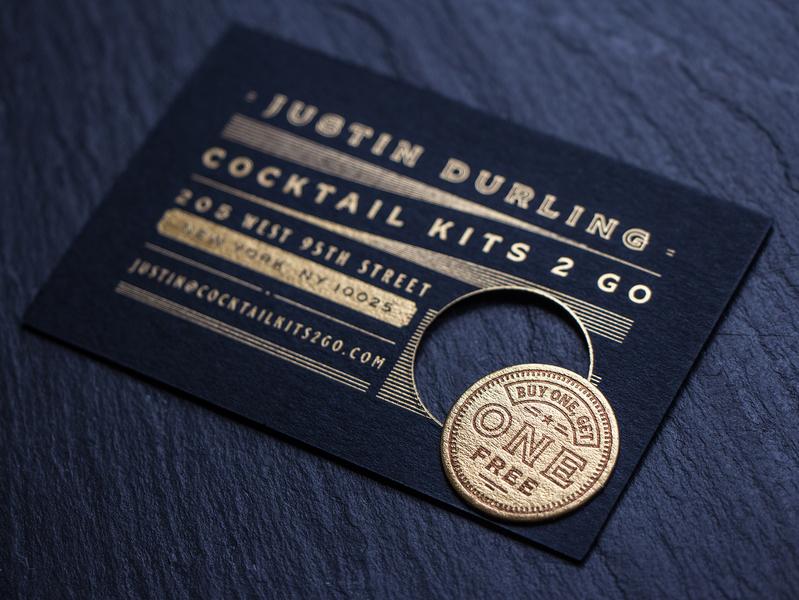 Cocktail Kits Business Cards vintage new york alcohol coin black print design business card gold foil