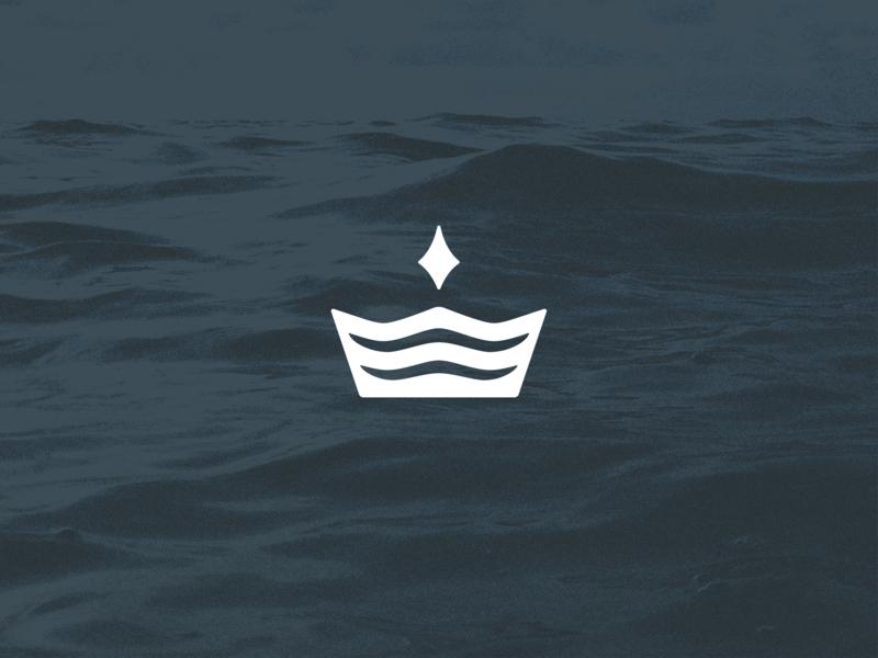 Water Crest waves star crown north logomark blue logo branding design nature water
