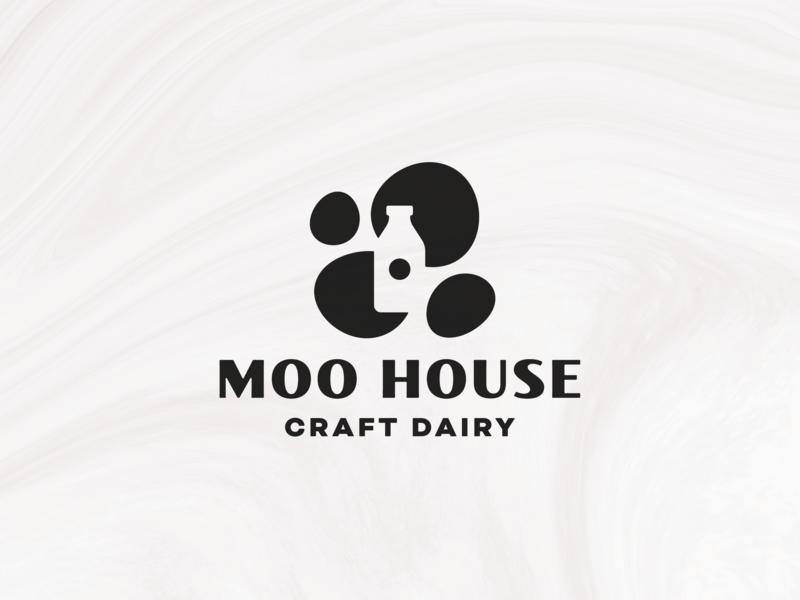 Moo House (Spots) fresh farm design logomark brand logo bottle dairy milk white black spots cow