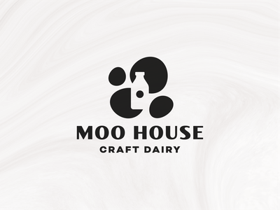 Moo House (Spots) fresh farm design logomark brand logo bottle dairy milk white black spots cow