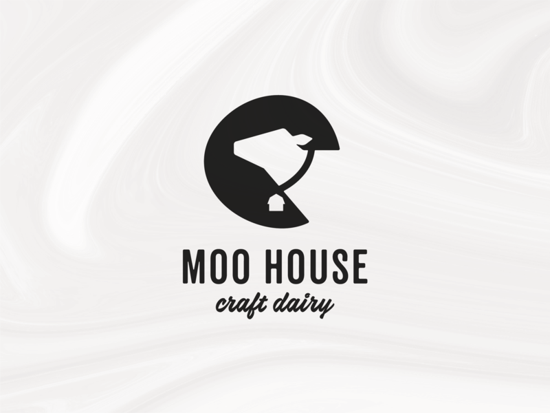 Moo House (Cowbell) fresh farm craft white black brand design logomark logo dairy milk cow