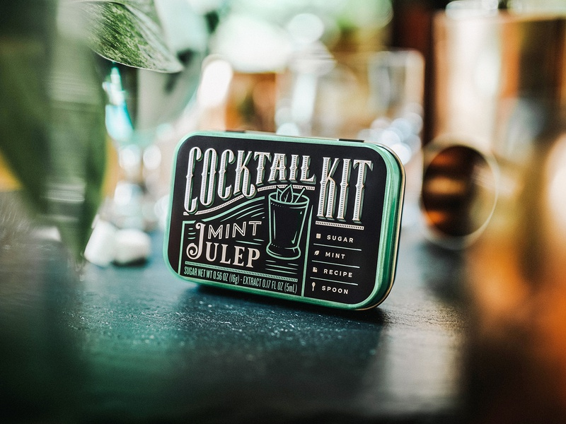 Mint Julep Cocktail Kit photography typography green design packaging branding alcohol spirit kit cocktail mint julep mint
