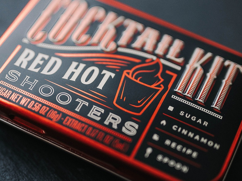 Red Hot Shooters Cocktail Kit fire typography branding packaging design alcohol spirits cinnamon red kit cocktail