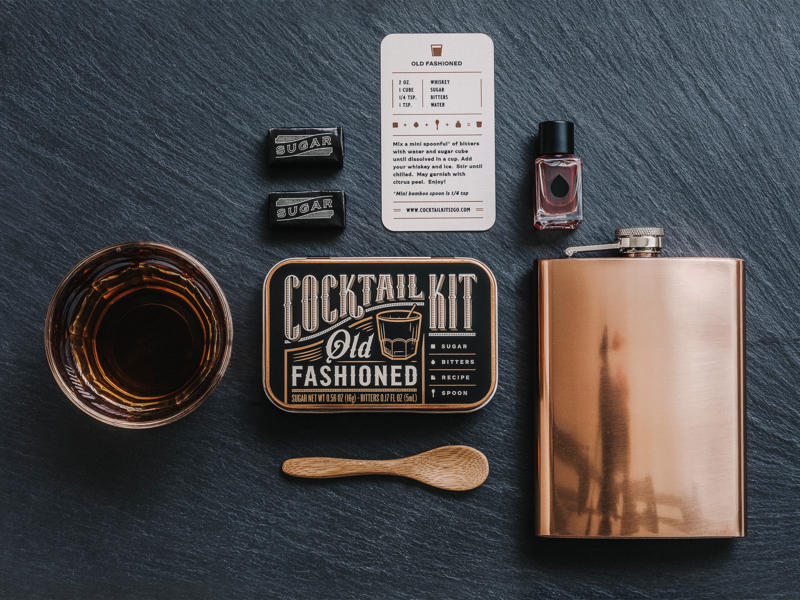 Old Fashioned Cocktail Kit typography design drink copper bourbon whiskey alcohol photography packaging branding spirit old fashioned kit cocktail