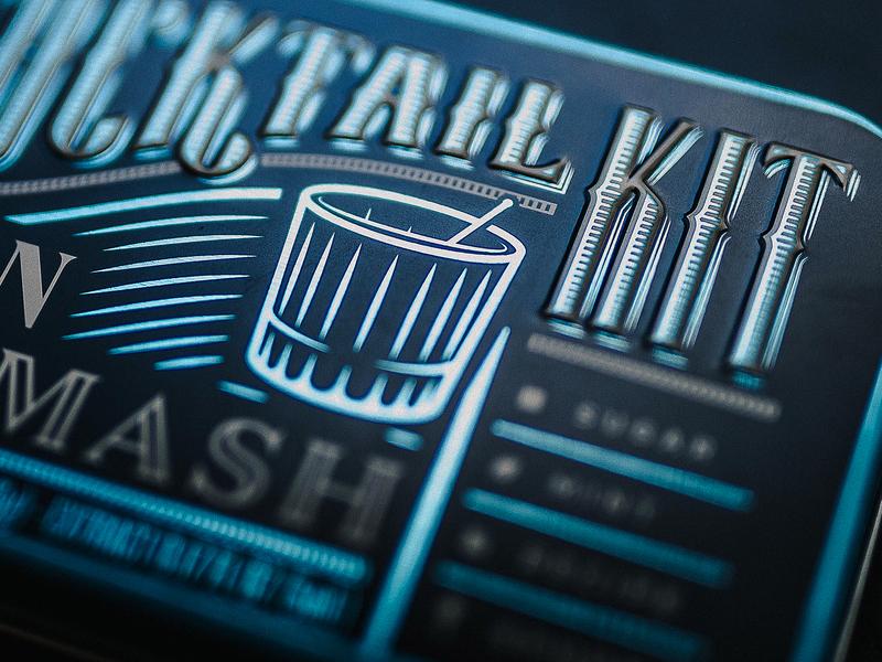 Gin Smash Cocktail Kit typography tin metallic blue photography branding design packaging spirits alcohol gin