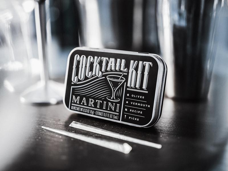 Martini Cocktail Kit art deco classy typography tin metallic silver photography design branding packaging alcohol spirit martini