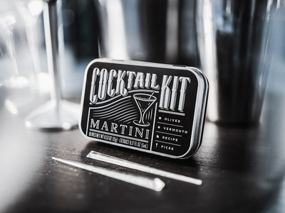 Martini Cocktail Kit art deco classy typography tin metallic silver photography design branding packaging alcohol spirit martini