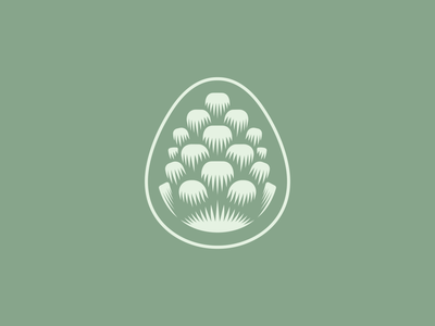 Pinecone Mark illustration wood sage minimal simple green icon logo design nature pine pinecone