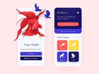 Crazy World mobile red blue colorful clean app ux design ux ui illustration