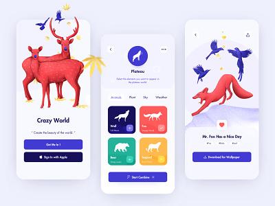 Crazy World landing page vector ux uxdesign animal red clean mobile app design app ui illustration mobile