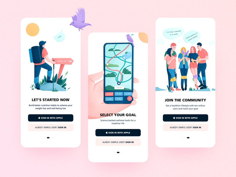 Design for Simple simple sign in signup landingpage sports design lifestyle health app vector app ui clean illustration