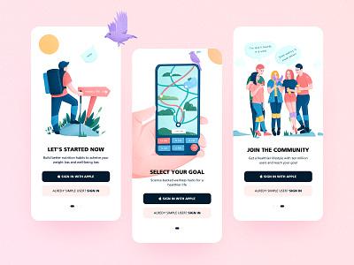 Design for Simple simple sign in signup landingpage sports design lifestyle health app vector app ui clean illustration