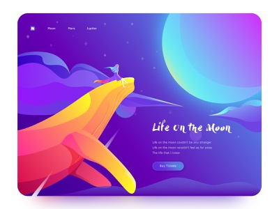 Life On The Moon vector creative whale color web colorful illustration