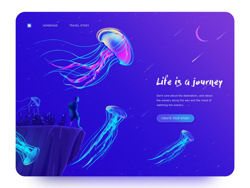Jelly Fish travel ui illustration colorful jellyfish web
