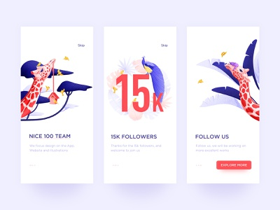 15k Followers landing page clean peacock giraffe blue red animal illustration app onboarding flow onboarding