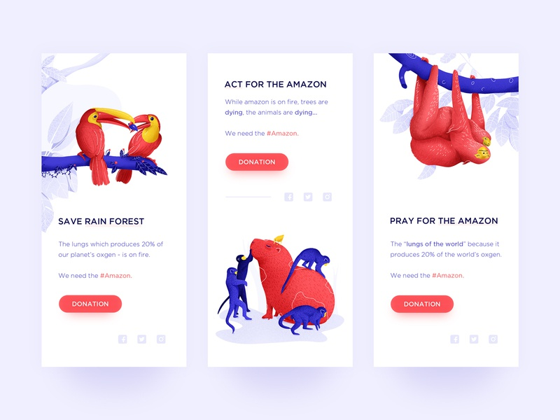 ACT For The Amazon mobile red blue onboarding app ui animal illustration amazon sloth capybara hornbill rainforest