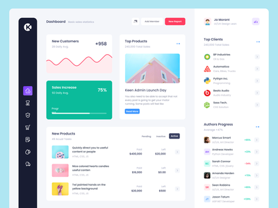 All new Keen Admin Demo table wizard sidebar graph ux flat chart dashboard ui product app admin bootstrap
