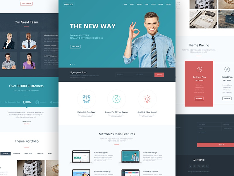 Bootstrap 3 One Page HTML Template Free by KeenThemes - Dribbble