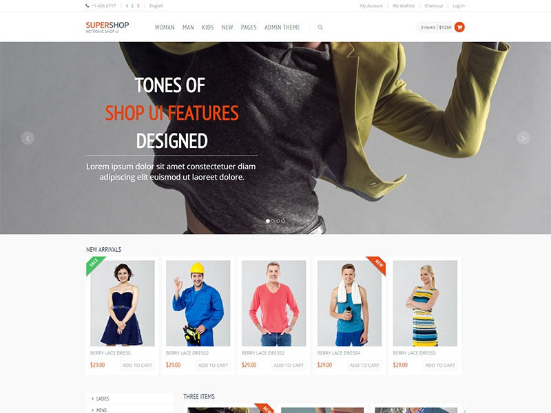 Bootstrap 3 Full Featured eCommerce HTML Template Free by KeenThemes