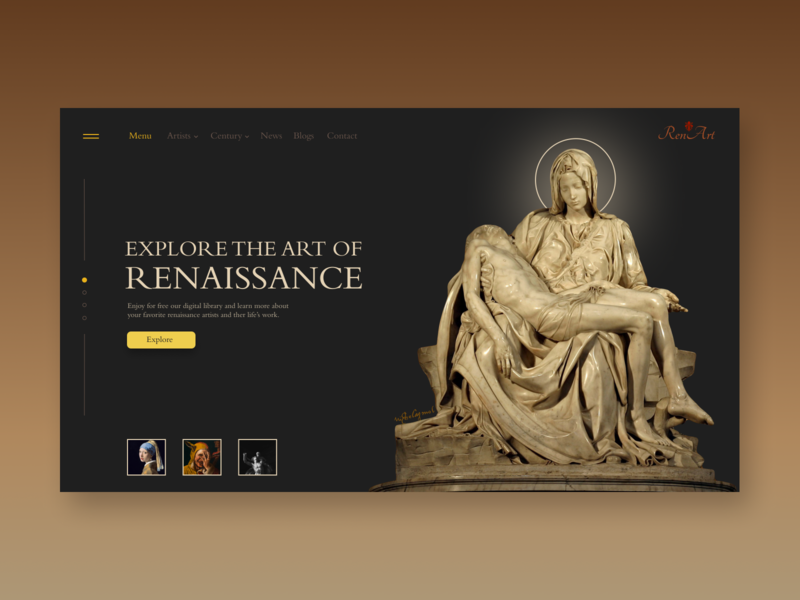 Renaissance Art - Homepage homepage design homepage painters sculpture visual art history art library home page renaissance michelangelo pieta web design ui  ux