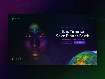 Save Planet Earth - Landing Page forest eco ecology save planet earth photoshop coin token crypto planting tree visual digitalart visual design ui ux landingpage homepage