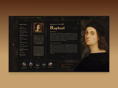 Renaissance Art - Artist Page explore painting dark ui renaissance library raphael art web design uix