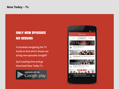New Today Tv Landing page landingpage mobile android minimal simple clean web red flat ios app