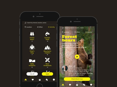 TOUR de BEAR-Day activities app design logo graphic design vector icon branding web ui typography app