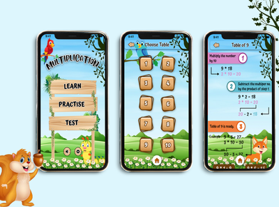 Kids Game Design illustration figma photoshop design app game multiplication kids app design