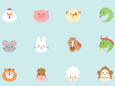 Zodiac Buttons zodiac buttons animals flat icon cute