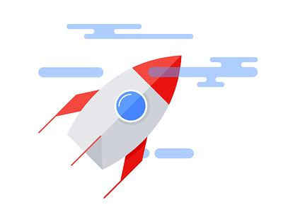 Blast off! illustration flat rocket