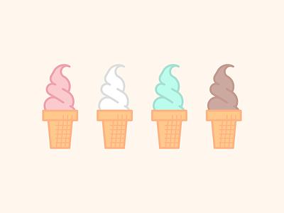 Ice Cream Cone illustration flat spumoni food dessert ice cream