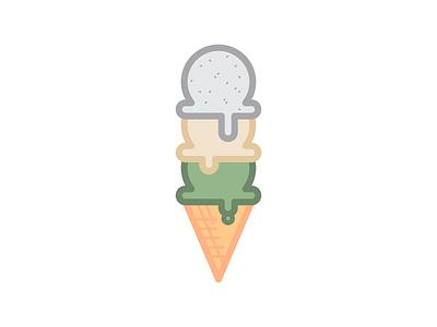 Ice Cream Cone 2 illustration ice cream food flat dessert