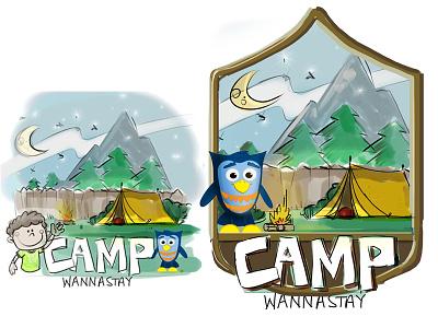 Camp Wannastay - Series Logo logo camp series kidmin newspring kidspring preschool hoot owl