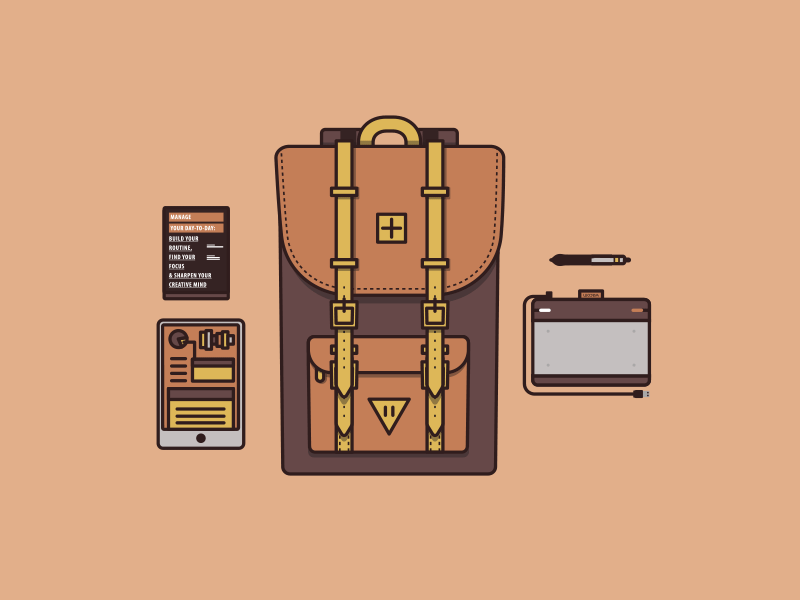 Travel Essentials herschel supply behance scott belsky book ipad tablet drawing intuos wacom travel icons backpack