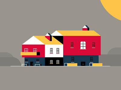Swiss House chimney building architecture illustration sunny windows door home house switzerland swiss