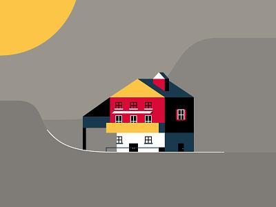 Swiss House #2 chimney building architecture illustration sunny windows door home house switzerland swiss
