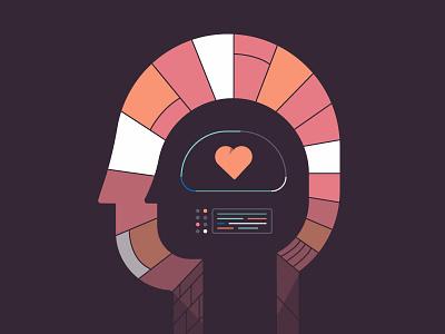 Mental Health / Self Improvement brick brain character mind head colors computer digital healthcare heart illustration