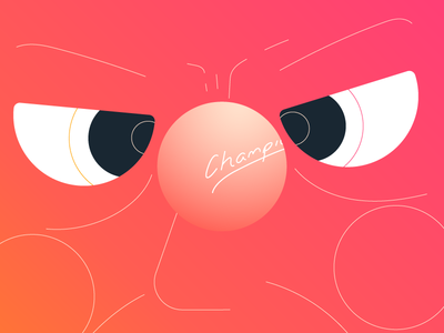 Keep yer eye on the ball reflection eyes animation geometric illustration character face table ball sports ping pong table tennis