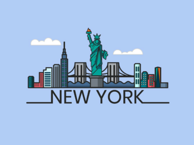 New york flat design illustrator vector