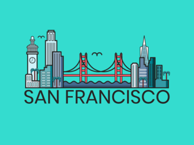 San Francisco flat design illustrator vector