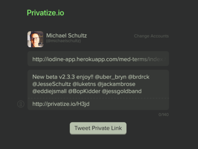 Privatize (share your private links, publicly) custom input private links twitter links tweet share privatize