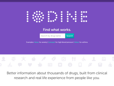Iodine.com homepage medication search drug search landing page front page health iodine