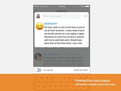 Reaction input (iOS) posting flow modal input sidewire