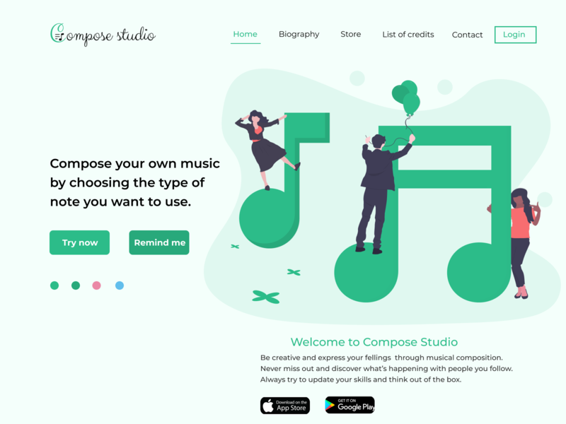 Compose Studio Landing page ui landing page concept landing page design landing page application apparel app