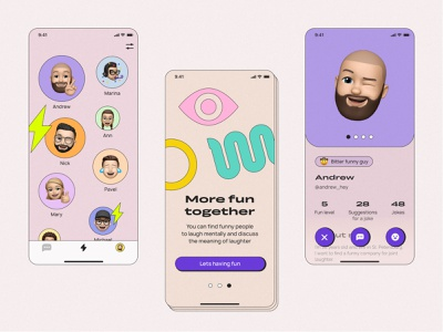 Mobile app for funny people ui  ux uxdesign uidesign uiux web design webdesign figma mobile app design mobile design mobile app mobile ui mobile vector website web app typography ux ui design