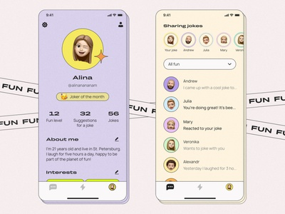Mobile app for funny people app design designer web design website design webdesign web interface uxdesign uidesign uiux ui mobile ui typography mobile design mobile app design mobile app mobile figma design app