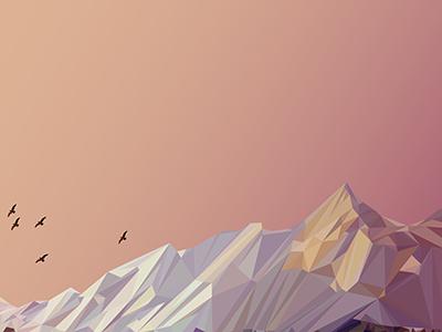 Boulder Sunrise colorado boulder flatirons birds low poly