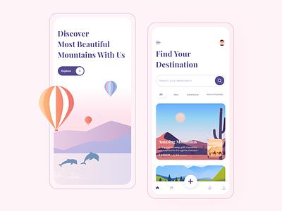 Travel App UI mobile design destinations popular 2020 trend ui kit illustration typography adventure travel app android ios mobile app ux ui