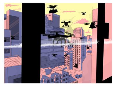 drones architecture design art mood drawing illustration